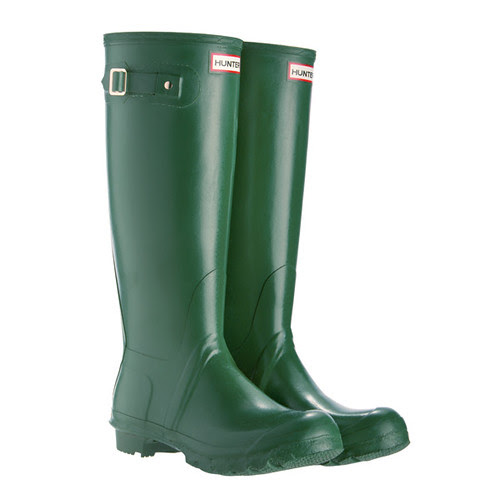 Hunter Original Neoprene Green Wellies