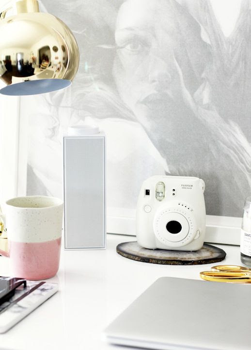 Le Fashion Blog Stylish Whimsical Work Space Urban Outfitters Tech Accessories White Fujimax Instant Camera Wireless Bluetooth Speaker Home Decor