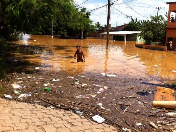Elvis nadou cerca de 600 metros para sair de casa em direção à rodovia (Foto: Lilian Quaino/G1)