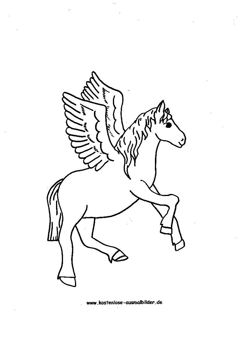 Ausmalbild Pegasus Pferd