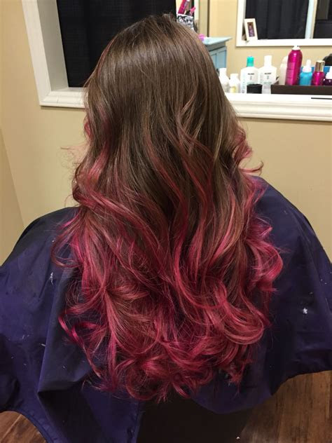 pink highlights brown hair pravana magenta