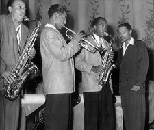 Lucky Thompson, Dizzy Gillespie, Charlie Parker, Billy Eckstine (fotograaf onbekend)
