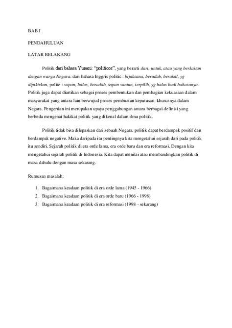 (DOC) MAKALAH POLITIK DI ERA ORDE LAMA, ORDE BARU DAN