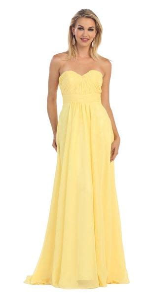 Strapless Floor Length Dress with Empire Waist and