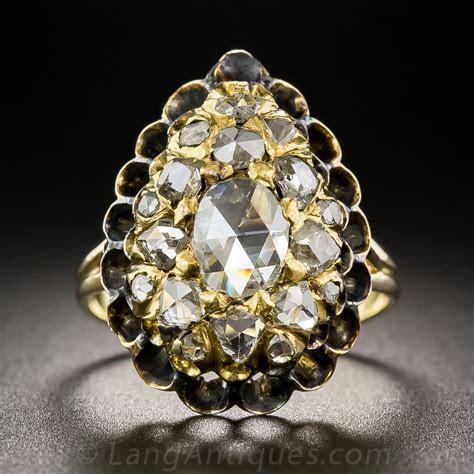 Antique Rose Cut Diamond Cluster Ring