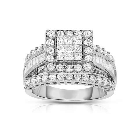 2 cttw. Square Cut 14K White Gold Diamond Engagement Ring