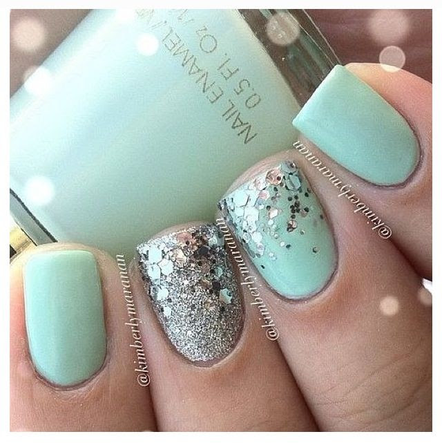 Mint green nails with silver glitter