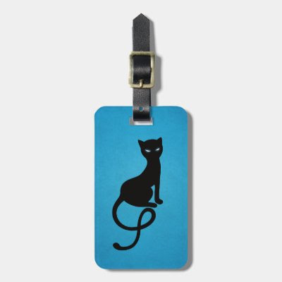 Blue Gracious Evil Black Cat Personalized Bag Tag