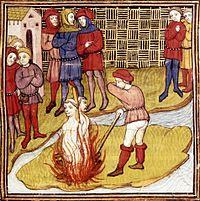 Jacques de Molay et Geoffroy de Charnay sur le bûcher, miniature du Maître de Virgile provenant des Grandes Chroniques de France, vers 1380 (British Library).