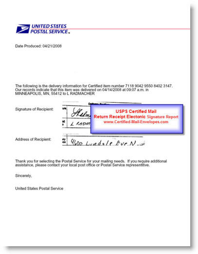Signatures – USPS Certified Mail Return Receipt Requested