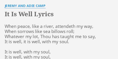 It Is Well With My Soul Jeremy Camp Lyrics