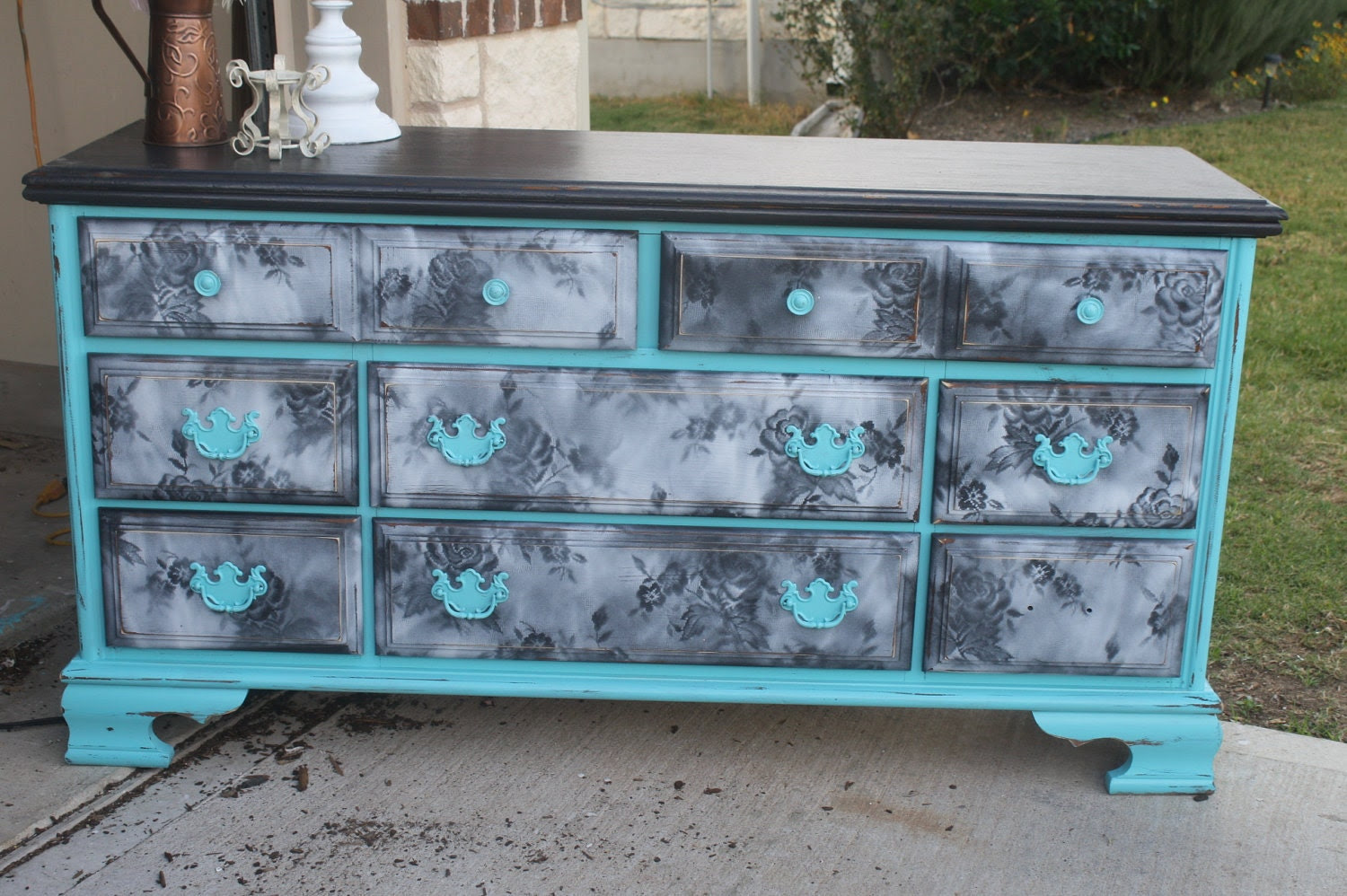 RESERVED Turquoise Lace Dresser