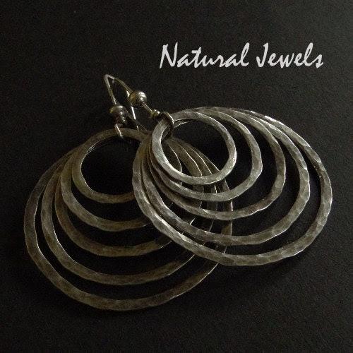 Silver Robust Full Moon Earrings - NaturalJewels