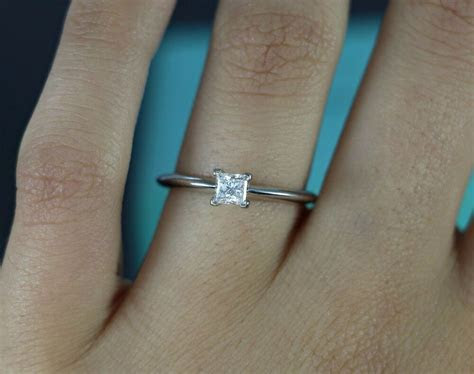 $3K Tiffany & Co Platinum 0.31ct Princess Cut Solitaire
