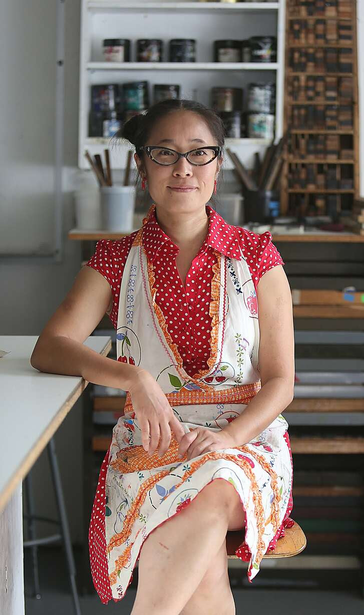 Artist Asuka Ohsawa shows the letterpress studio where she teaches at the San Francisco Art Institute where she also teaches in San Francisco, Calif., on Friday, September 25, 2015.