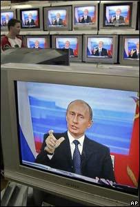 Vladimir Putin, presidente de Rusia, durante una sesión televisada de preguntas y respuestas