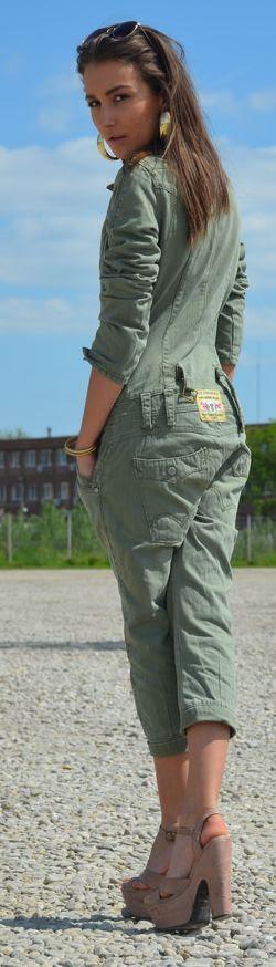 Vintage Khaki Olive Crop Aviator Jumpsuit Costume