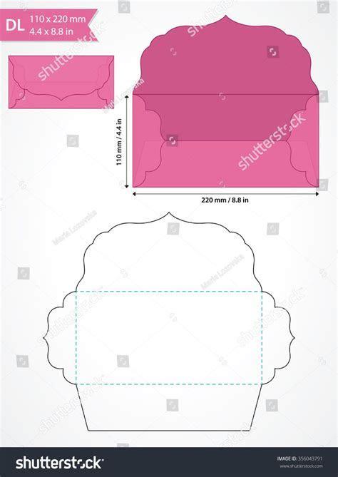 Die cut vector envelope template with swirly flap