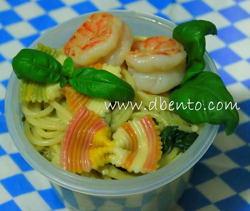 spagetti scampi e spinachi Bento