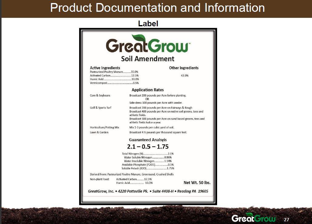 Soil Amendment Label
