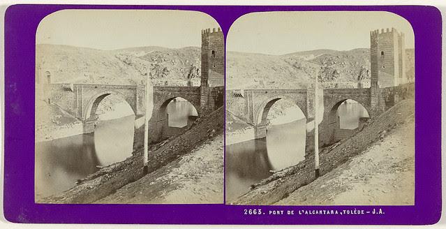 Puente de Alcántara. Fotografía estereoscópica de Jean Andrieu en 1868 con número de serie 2663