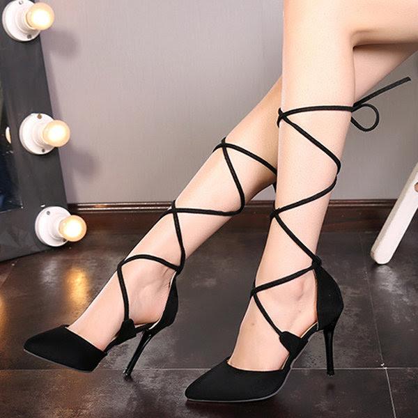 Sexy Cruz-Correa de las bandas de la sandalia de las señoras del dedo del pie puntiagudo zapatos de tacón alto