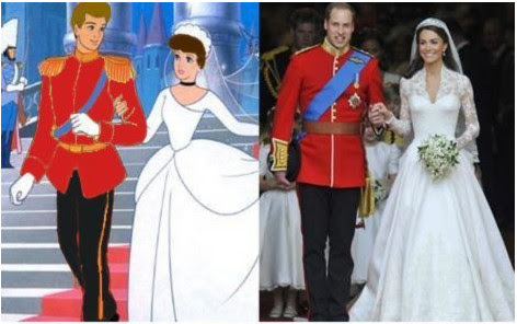Prince Charming and Cinderella and Prince William and Kate