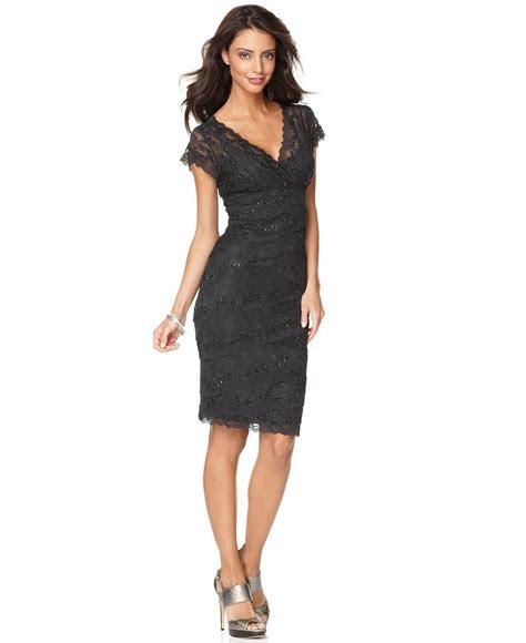 marina dress cap sleeve lace cocktail dress womens