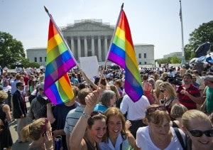 Hundreds of people gather outside the US Supreme Court building in Washington, DC on June 26, 2013 in anticipation of the  ruling on California's Proposition 8, the controversial ballot initiative that defines marriage as between a man and a woman. AFP PHOTO / MLADEN ANTONOVMLADEN ANTONOV/AFP/Getty Images