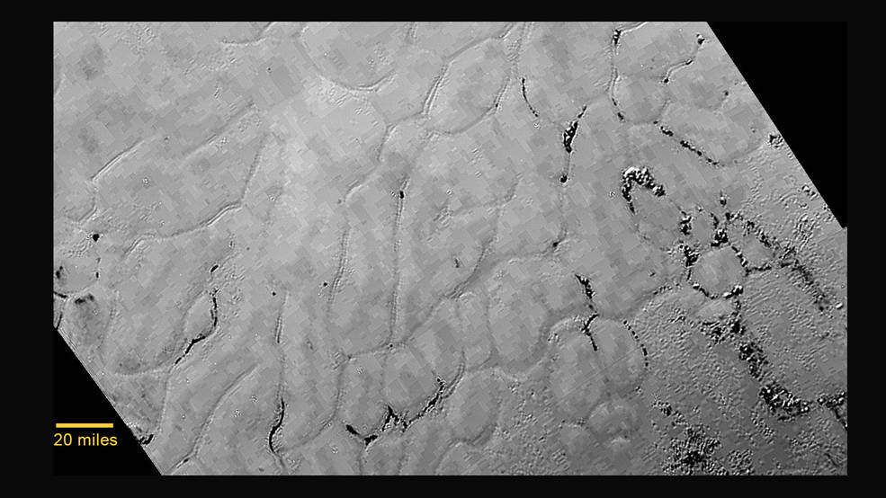 Closeup of Pluto surface heart-shaped feature showing plain
