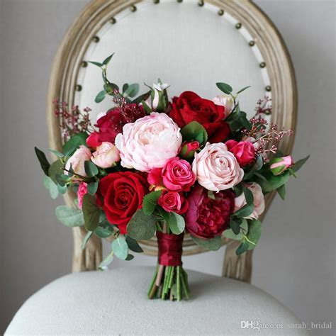 Pink Rose Bridal Bouquets Holding Brooch Flowers 2019 Red