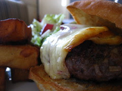 Venison burger with smoked cheese