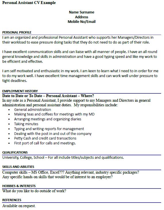 Personal Assistant Cv Example Icover Org Uk