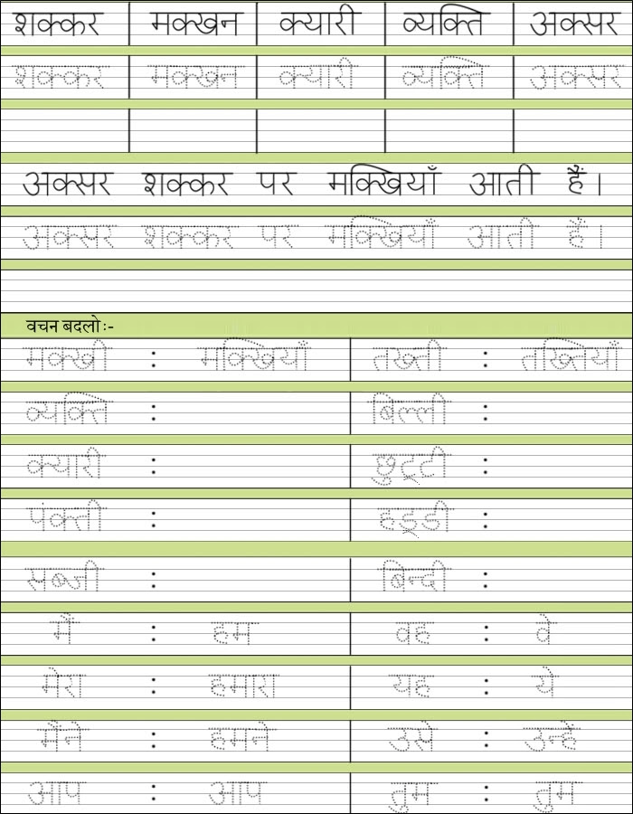 Grade Hw Hindi Spelling Vocab Worksheets Cbse Icse School
