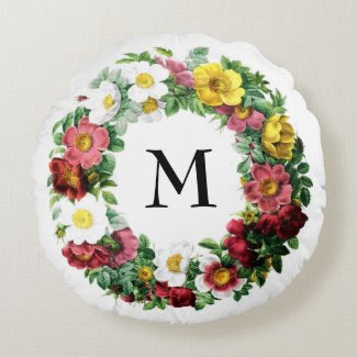 colorful circlet of vintage roses round pillow