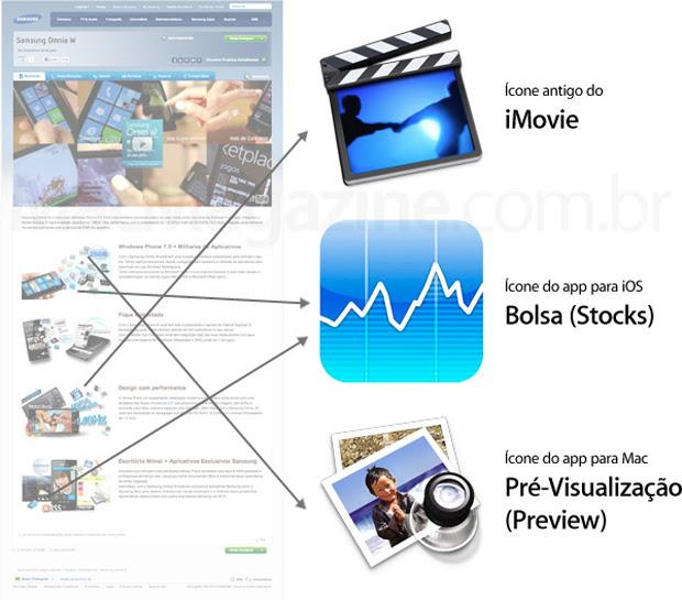 Ícones da Apple em site da Samsung (Foto: Reprodução/MacMagazine)