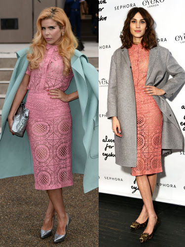 They say imitation is the sincerest form of flattery, so Alexa Chung must be seriously feeling the love from Paloma Faith. Paloma not only wore the same pink lace Burberry dress (that Alexa wore at the end of last year for her Eyeko launch in NYC), but copied her huge overcoat styling AND her pose! But somehow, they both make the look their own. Who do you think wore it best? GET MORE CELEBRITY FASHION HERE