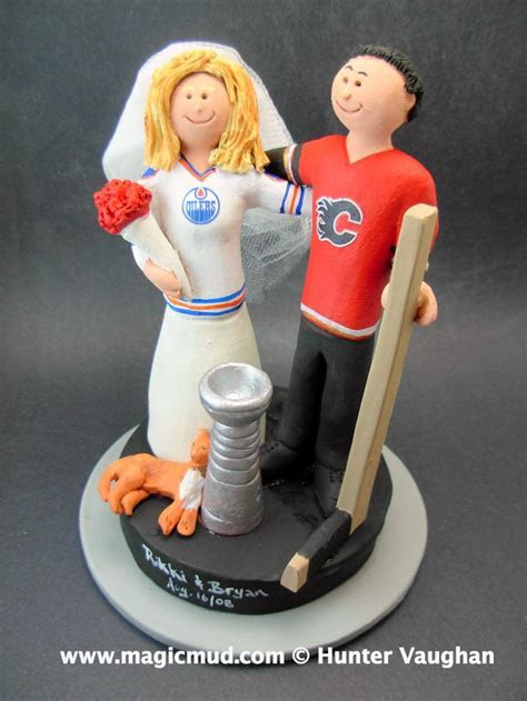 Edmonton Oilers vs Calgary Flames Wedding Cake Topper www