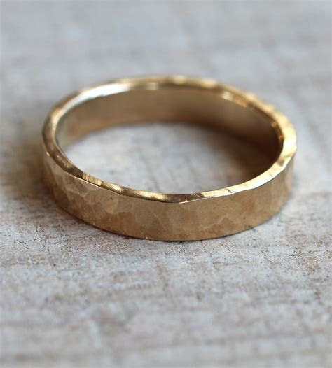 Hammered Gold Wedding Band   Wide   Jewelry Rings   Praxis