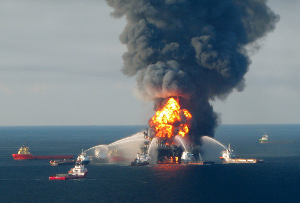 Image: Fire boats battle the blazing remnants of the off shore oil rig Deepwater Horizon, off Louisiana, on April 21, 2010.