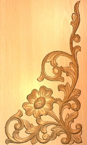 wooden single door flower design  | 775 x 1161