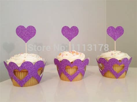 Glitter Heart Cupcake Wrappers holders wedding Valentine's