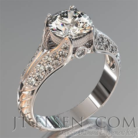 Pave diamond enagement Rings Antique style engagement ring