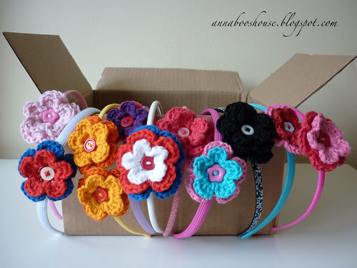 Crochet flower hairbands