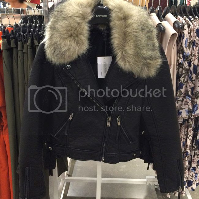 Topshop Moto Jacket with Faux Fur Trim