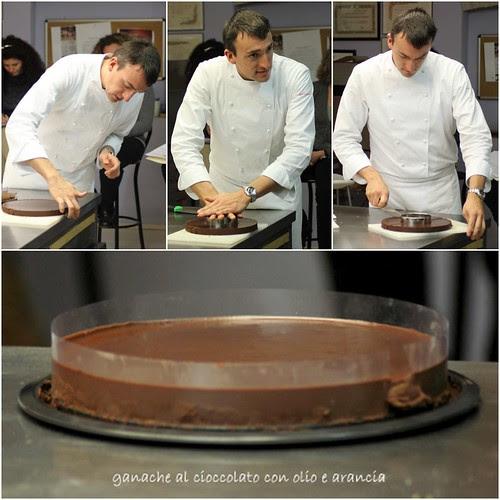 tagliando la ganache di cioccolato olio e arancia