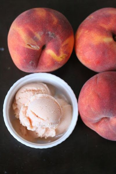 Honey Peach Frozen Yogurt Makes about 1 quart  Ingredients 3 ripe peaches, peeled and cut into chunks. (about 3 cups of cut fruit and you can use a mix of white and yellow) ¼ cup honey 2 ½ cups Fage Greek yogurt