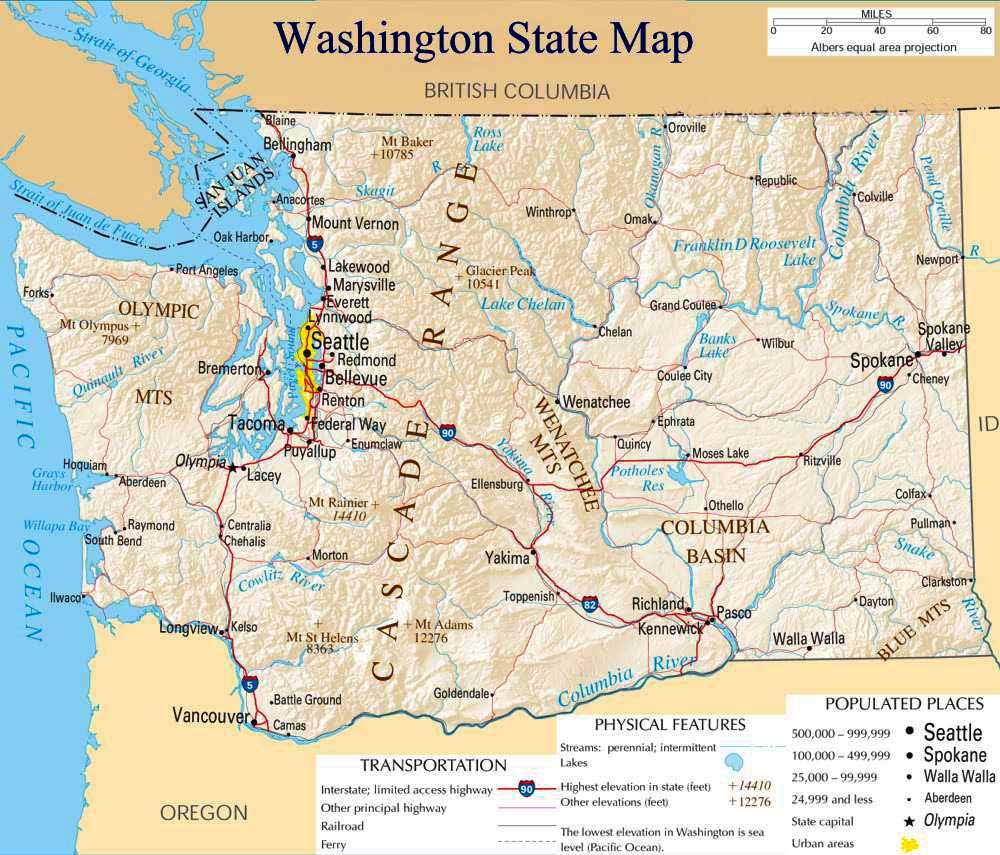 Washington State Map Usa Map Guide - City map of washington state
