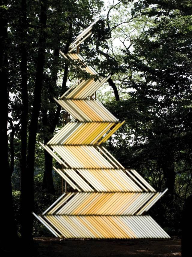 Flame (Gate) light installation by Yochai Matos | Yellowtrace.