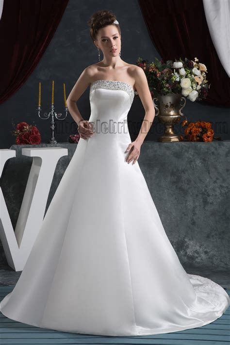 Elegant Strapless A Line Beaded Lace Up Wedding Dresses